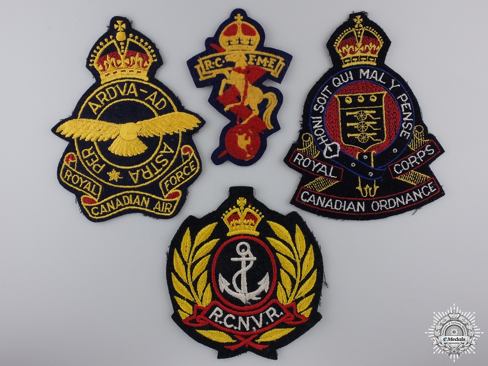 eMedals-Four Second War Royal Canadian Navy Armed Forces Jacket Patches