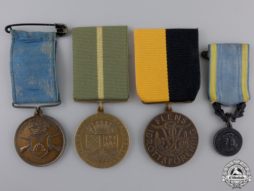eMedals-Four Swedish Shooting Medals and Awards