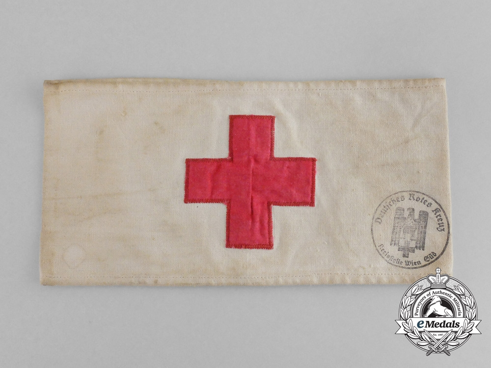 eMedals-A DRK (German Red Cross) District Vienna South Membership Armband; Dated 1942