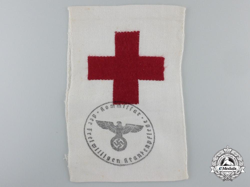 eMedals-A Second War German Red Cross Brassard (Armband) for Volunteer Stretcher Bearers