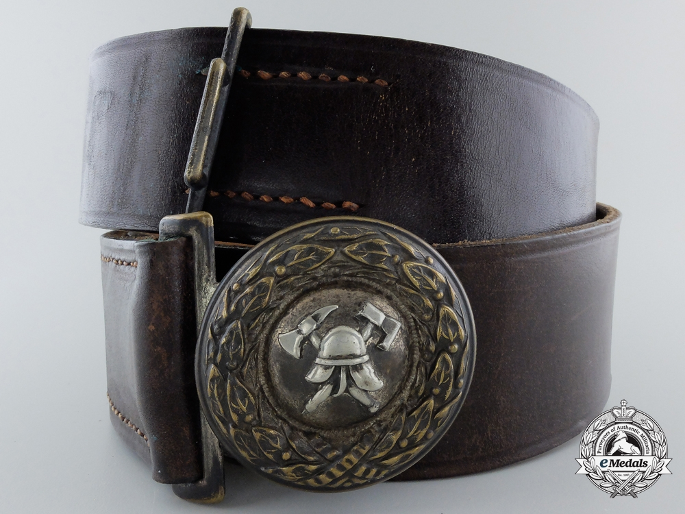 eMedals-A Pre 1934 Fire Defense Officer Buckle with Belt; Published Example
