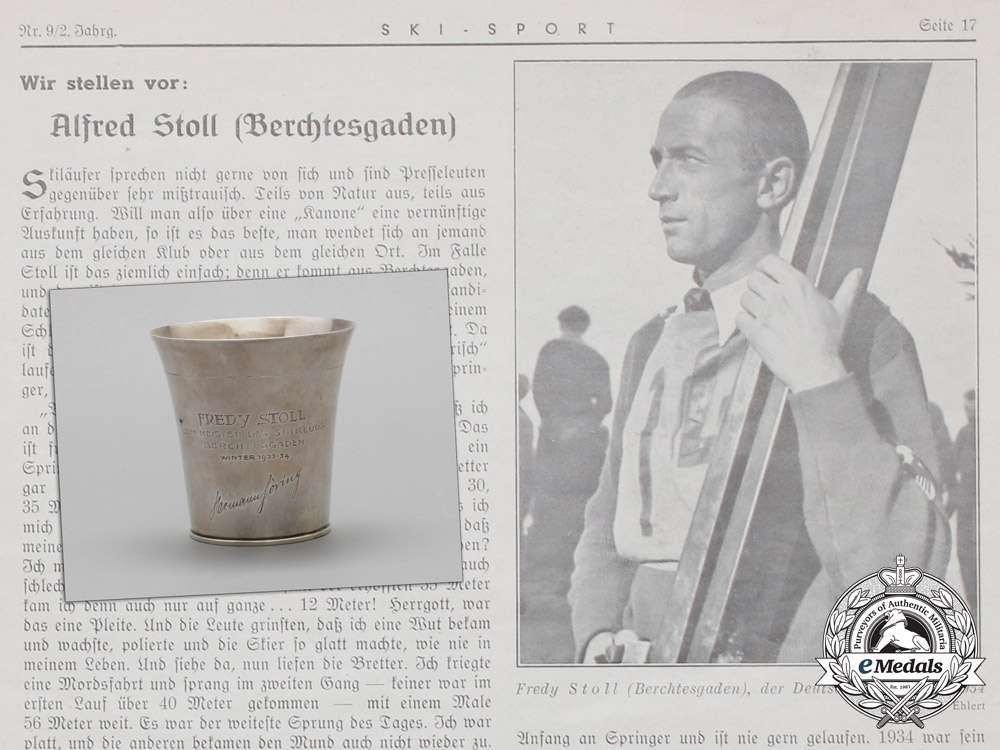 eMedals-Germany, Luftwaffe. A 1933-34 Silver Trophy Presented by Göring to Ski Jump Champion