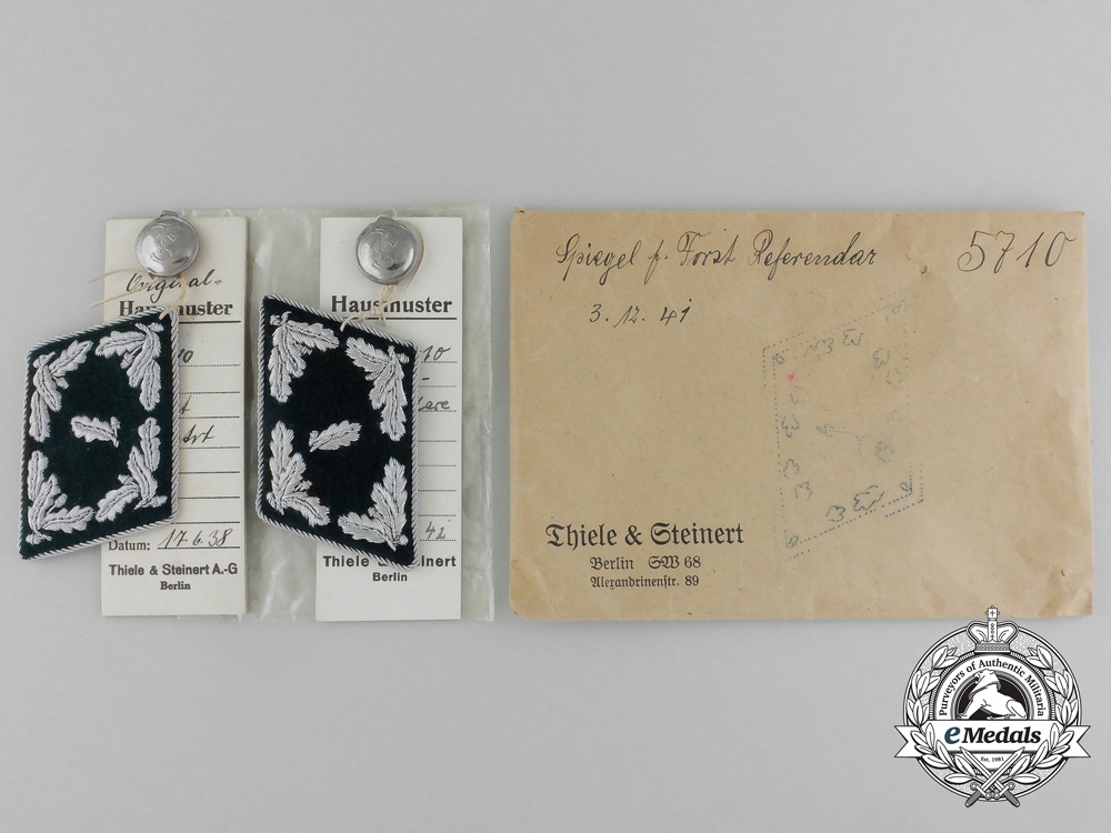 eMedals-A Mint & Unissued Set of Forst Referrendar Collar Tabs by Thile & Steinert; Dated 1941