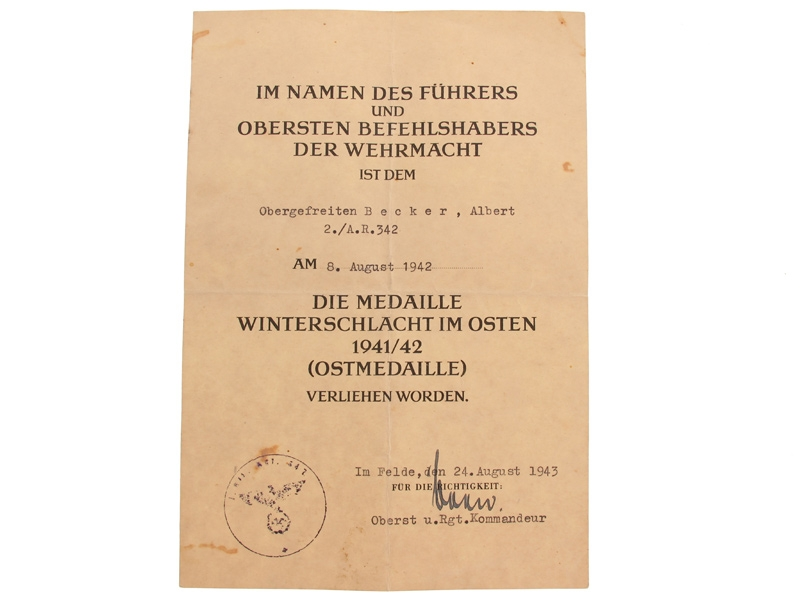 eMedals-Two Award Documents, Obergefreiten