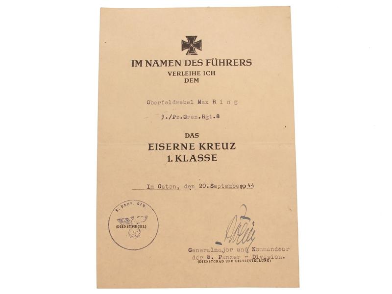 eMedals-Iron Cross 1st.Cl Award Document,