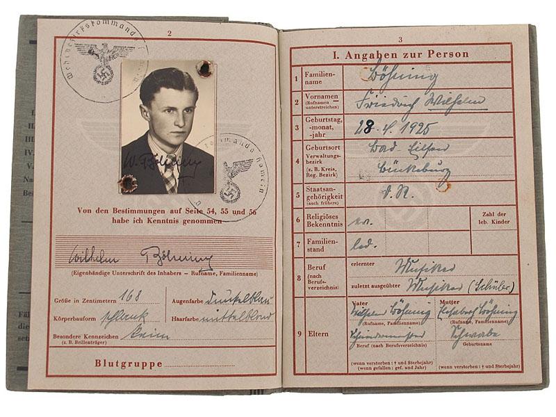 eMedals-Soldbuch of Wilhelm Boehning - KIA March 18th 1944