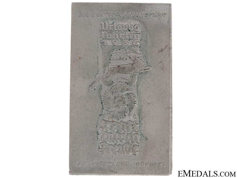 eMedals-German Labour Front Trip Tinnie, Gau Wurttenberg-Hohenzollern, 1936