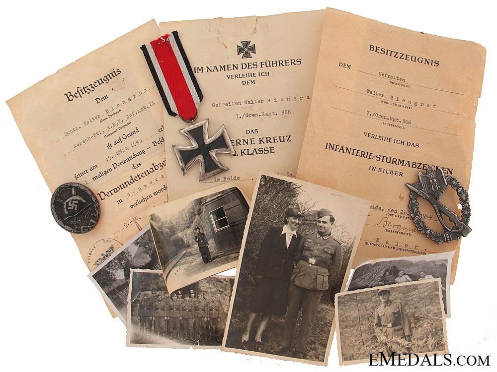 eMedals-Group of Awards to an Gefreinten, 7./Gren.Regt. 366