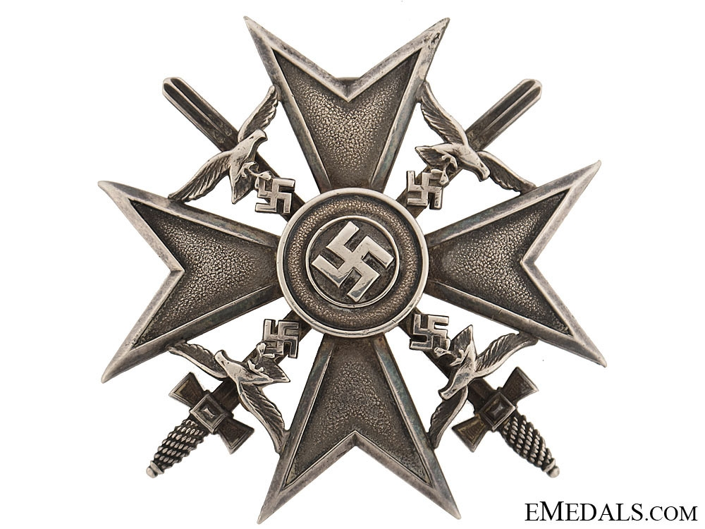 eMedals-Spanish Cross in Silver w/Swords