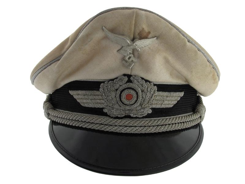 eMedals-Officer's Summer White Visor Cap