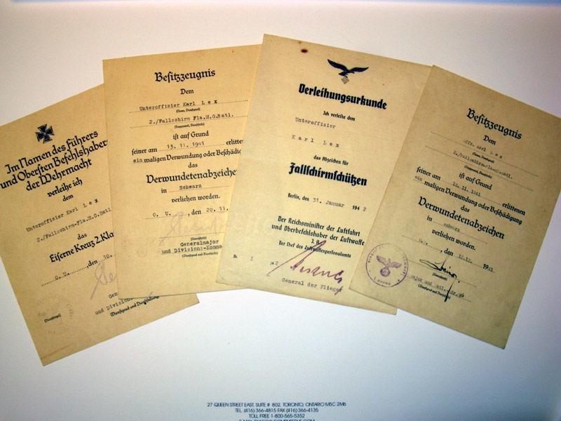 eMedals-Fallschirmjäger, Four Award Documents