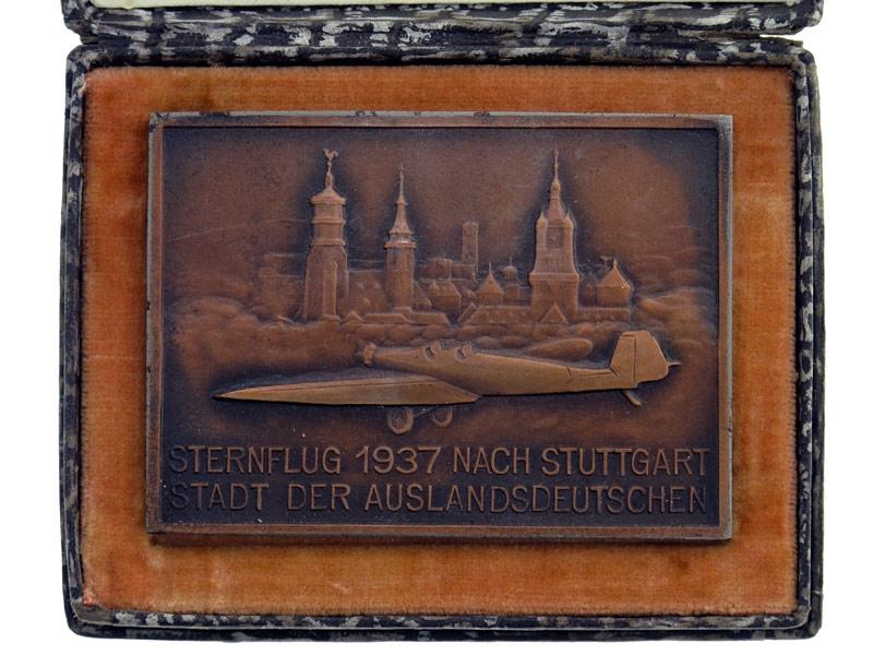 """eMedals-Cased Stuttgart """"¢�Sternflug""""¢� Plaque 1937"""