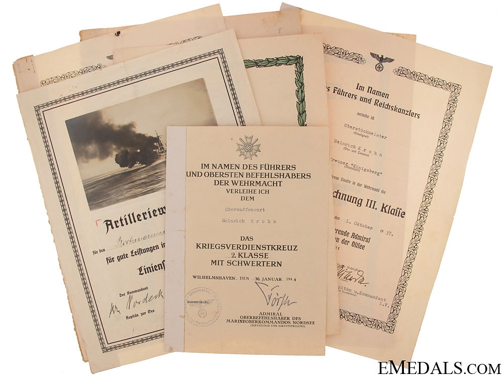 eMedals-Group of Naval Documents to Heinrich Krohn