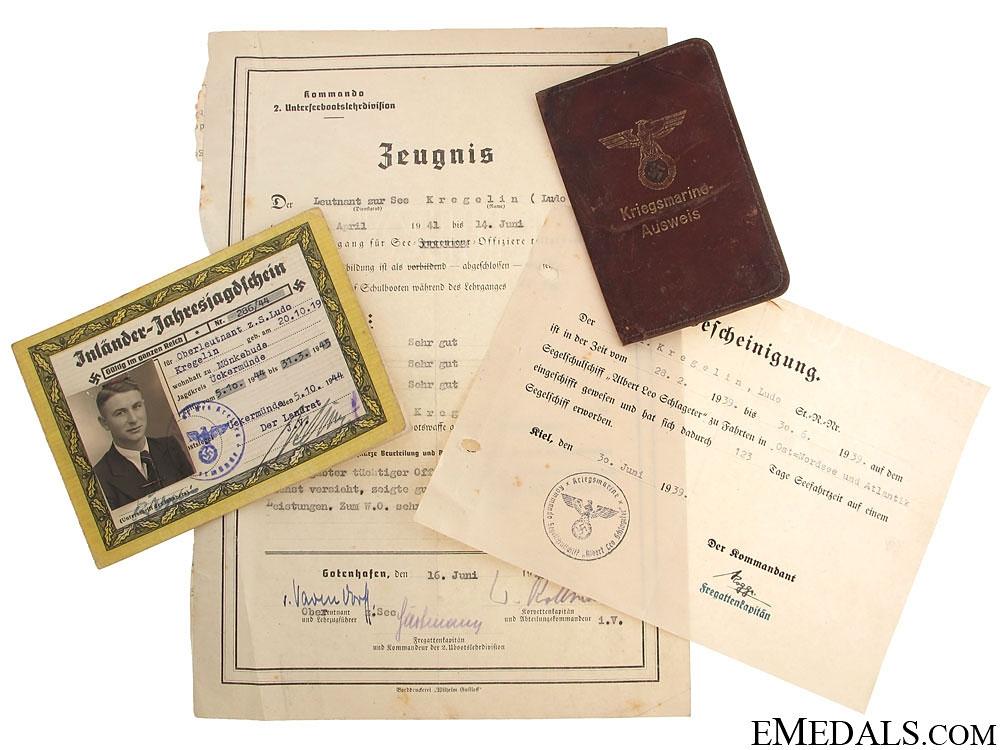 eMedals-Group to U-Boot Officer - Oberleutnant Kregelin