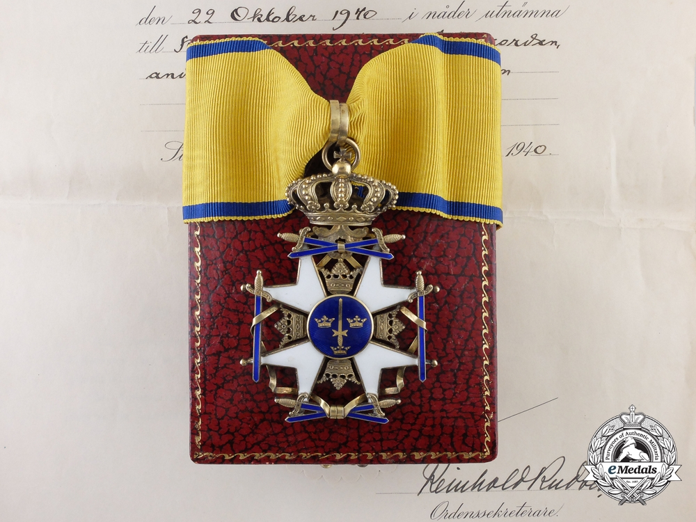 eMedals-A Swedish Order of the Sword with Document to Generalleutnant Joseph Schmid