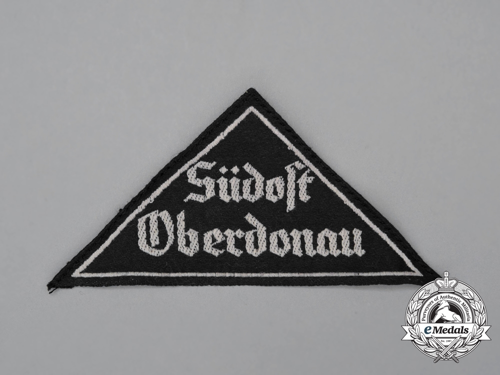 """eMedals-A Mint and Unissued HJ """"Südost Oberdonau"""" District Sleeve Insignia; RZM Tagged"""