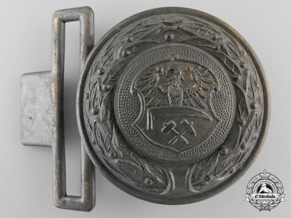 eMedals-A Third Reich Upper Silesia (Ober-Schlesien) Fire Defence Officer's Belt Buckle; Published Example
