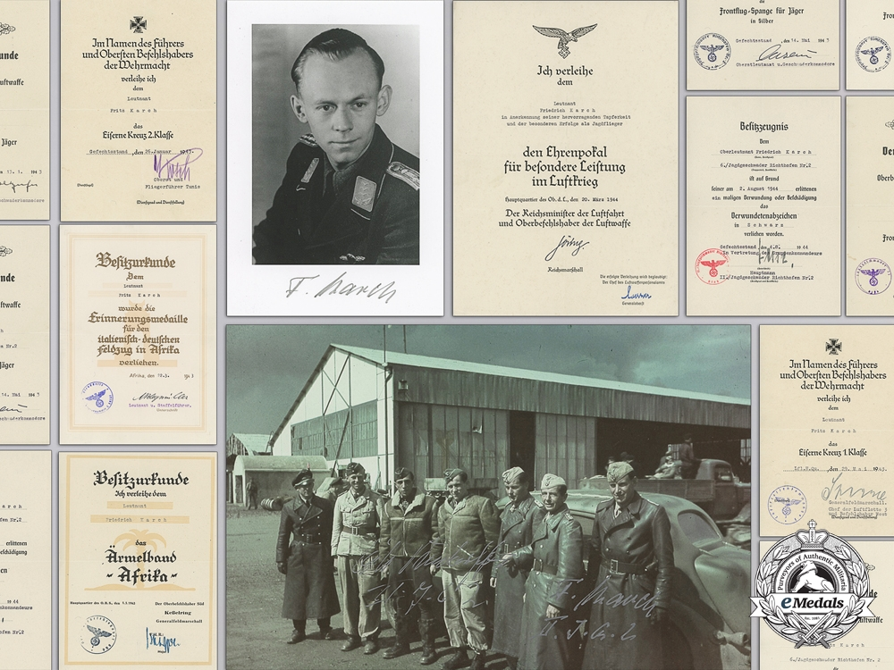 eMedals-A Group of Documents to a Luftwaffe Fighter Ace Fritz Karch; 47 Air Victories