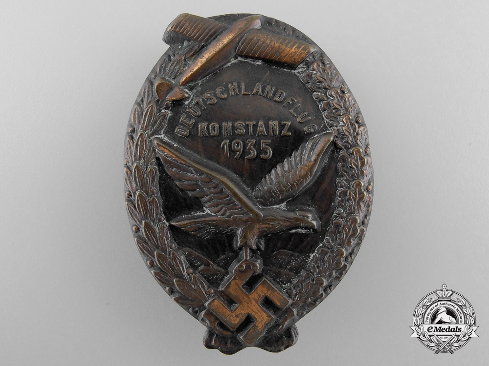 eMedals-A Rare 1935 Flying Competition (Deutschlandflug) at Konstanz Badge