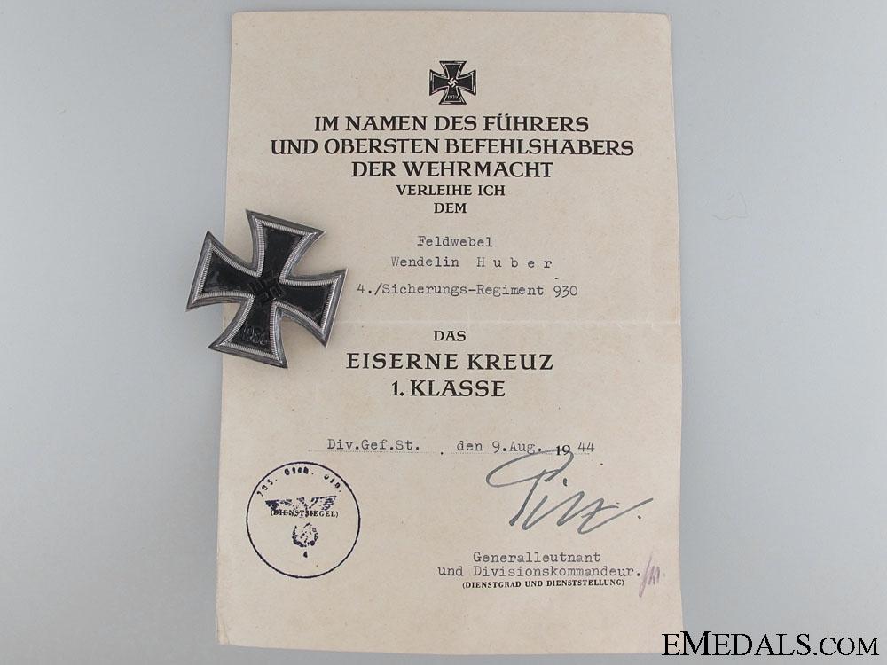 eMedals-Iron Cross 1st Class 1939 to W.Huber 4h Sicherungs