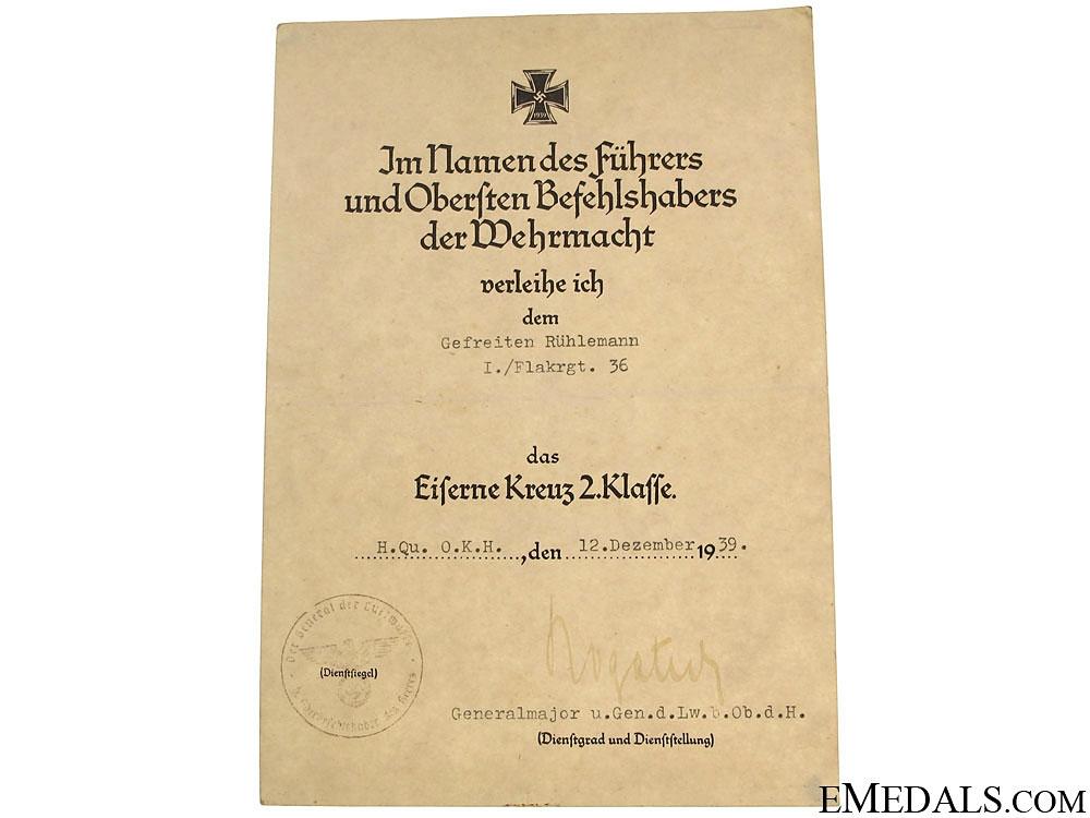 eMedals-Iron Cross 2nd. Cl. Award Document
