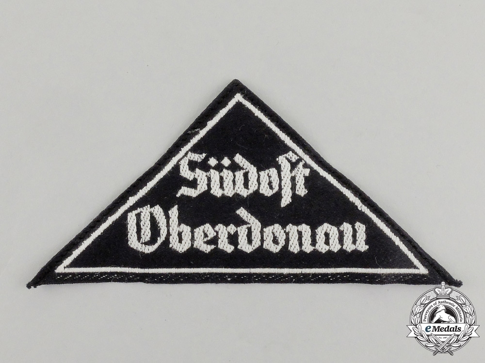 "eMedals-A Mint and Unissued HJ ""Südost Oberdonau"" District Sleeve Insignia; RZM Tagged"