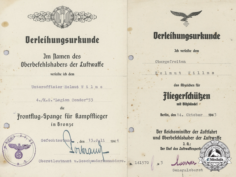 """eMedals-Two Award Documents to Unteroffizier Helmut Wilms; """"Legion Condor"""""""