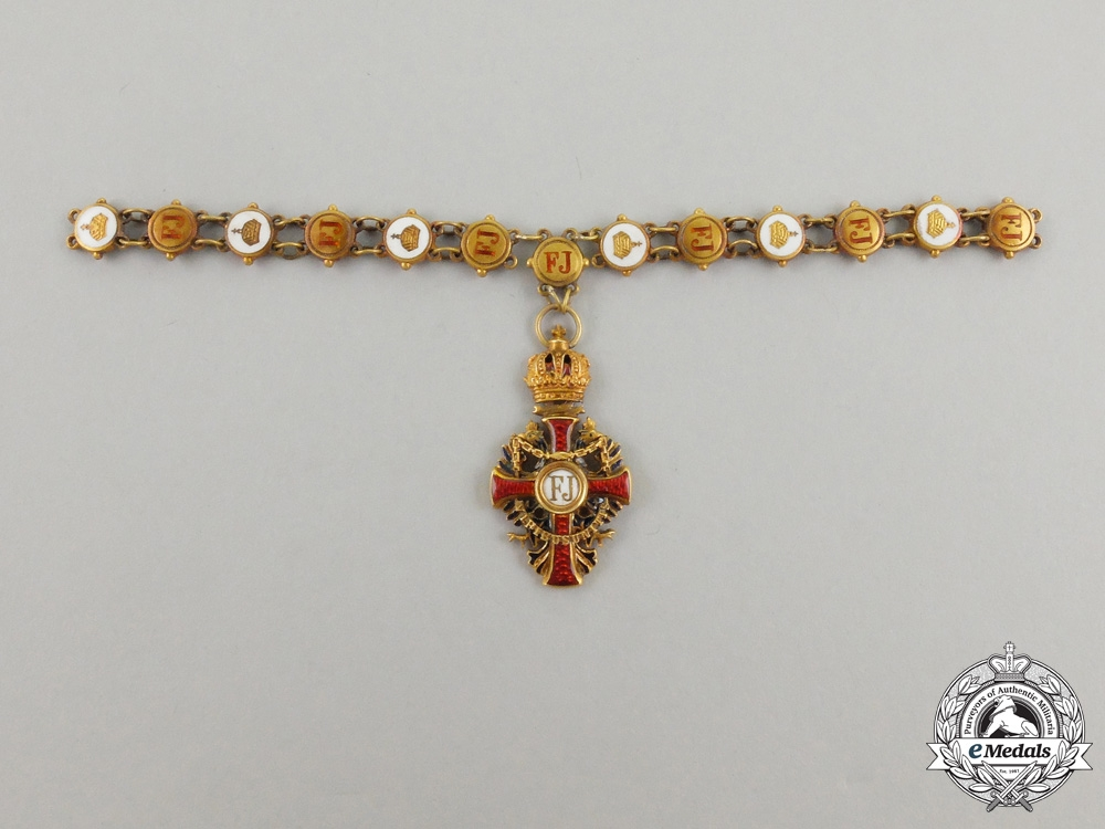 eMedals-A Miniature Austrian Collar of the Order of Franz Joseph in Gold by Vincent Mayer Sons