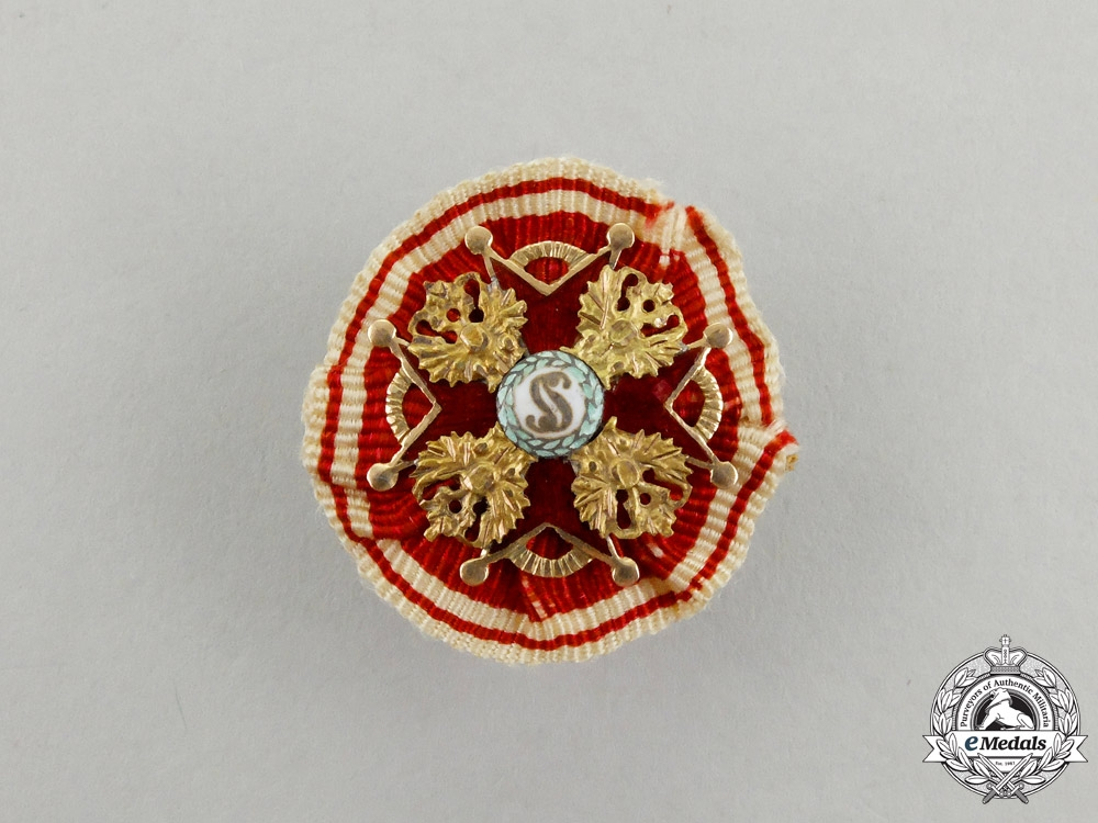 eMedals-Russia, Imperial. An Order of St. Stanislaus in Gold, Miniature Boutonniere, c.1900