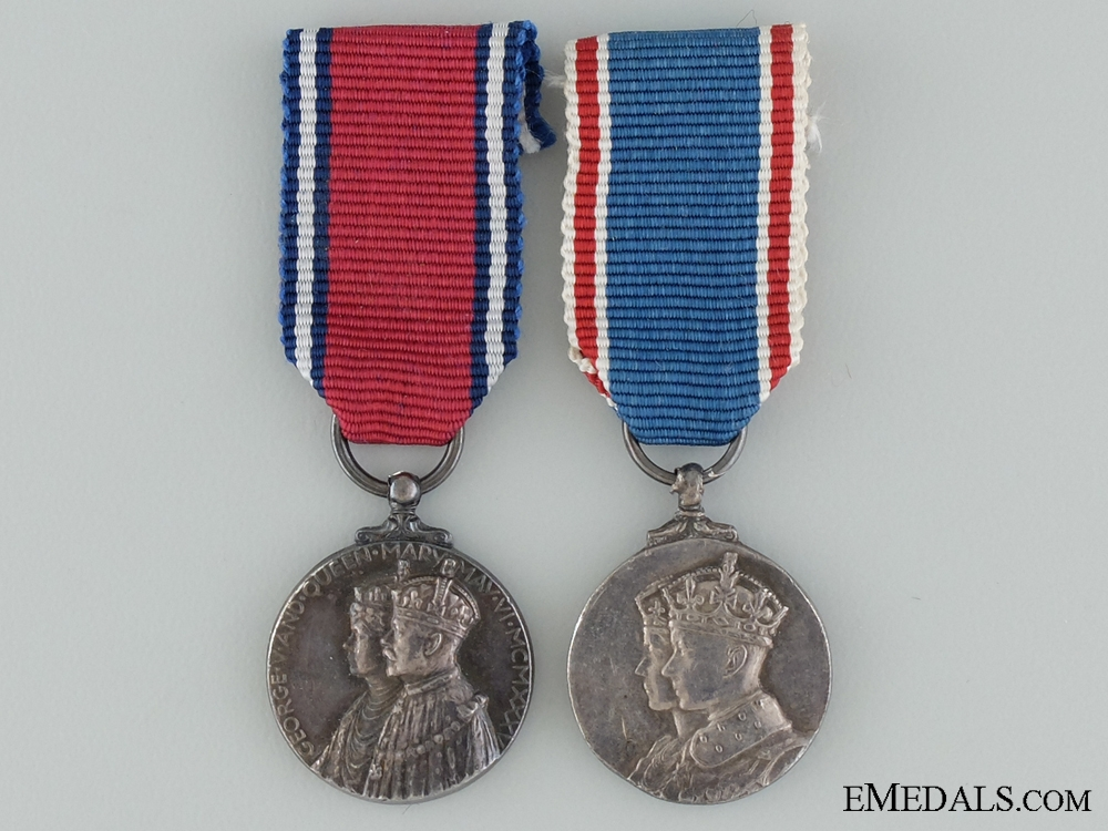 eMedals-Jubilee Medal 1935 and Coronation Medal 1937 Miniature Pair