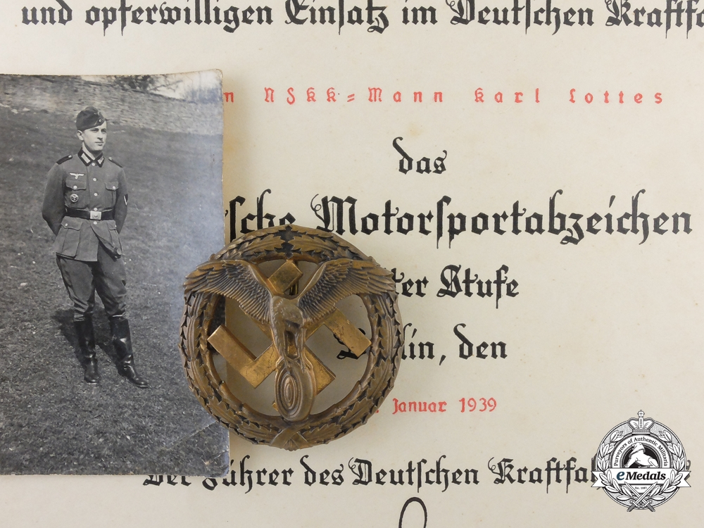 eMedals-Germany, Wehrmacht. A Scarce Motor Sport Badge with Award Document; Published Example