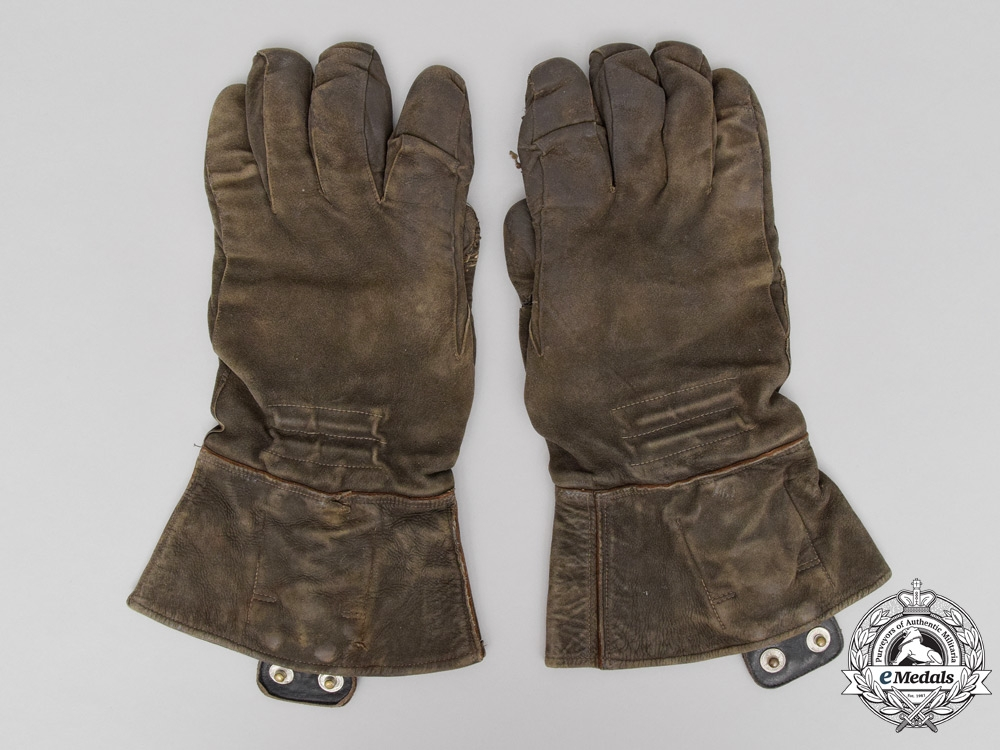 eMedals-A Set of Heated Luftwaffe Pilot's Leather Gloves by Nökel & Co. Dated November 1940