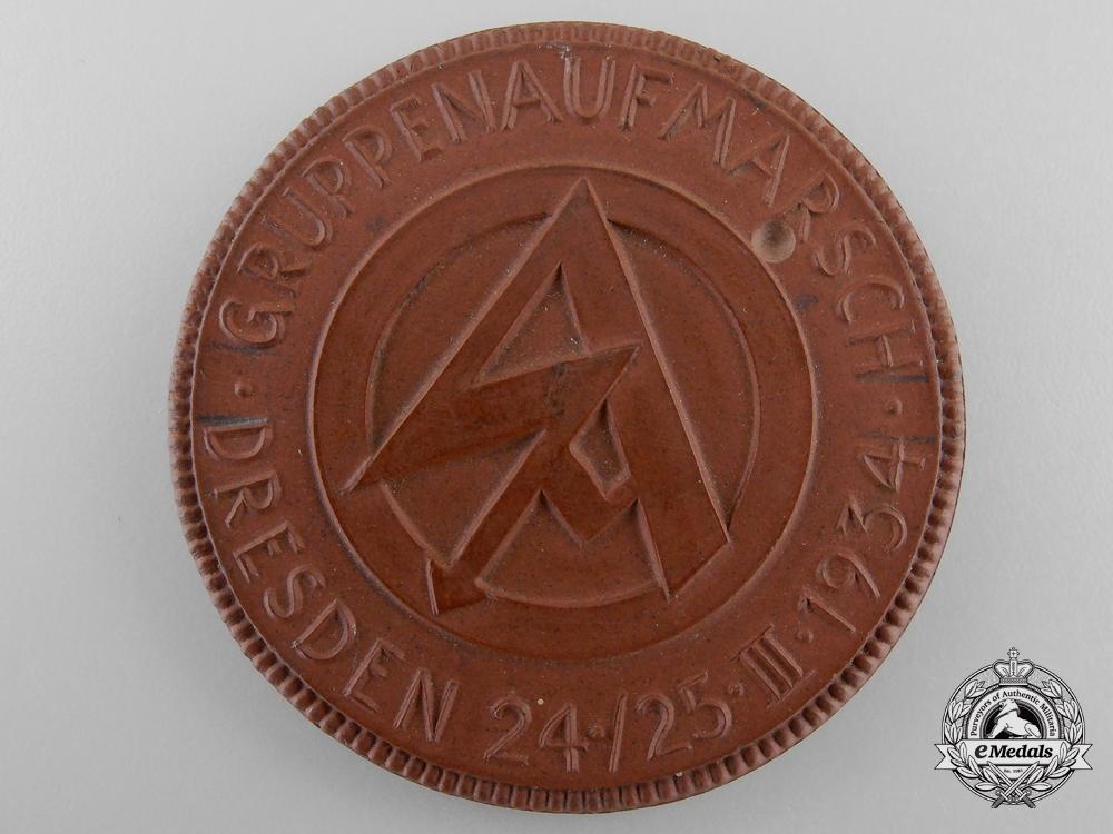 eMedals-A Meissen Medallion; SA - GRUPPENAUFMARSCH DRESDEN 24./25. III. 1934