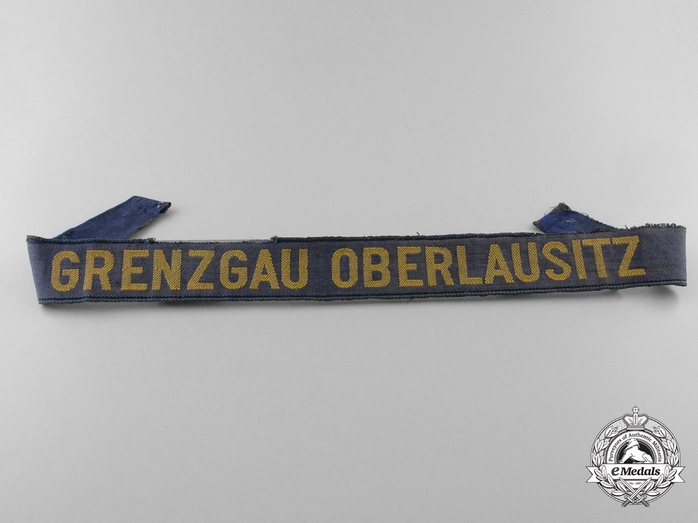 eMedals-A Veteran's Stalhlhelm Upper Lusatia Border District (Grenzgau Oberlausitz) Cufftitle