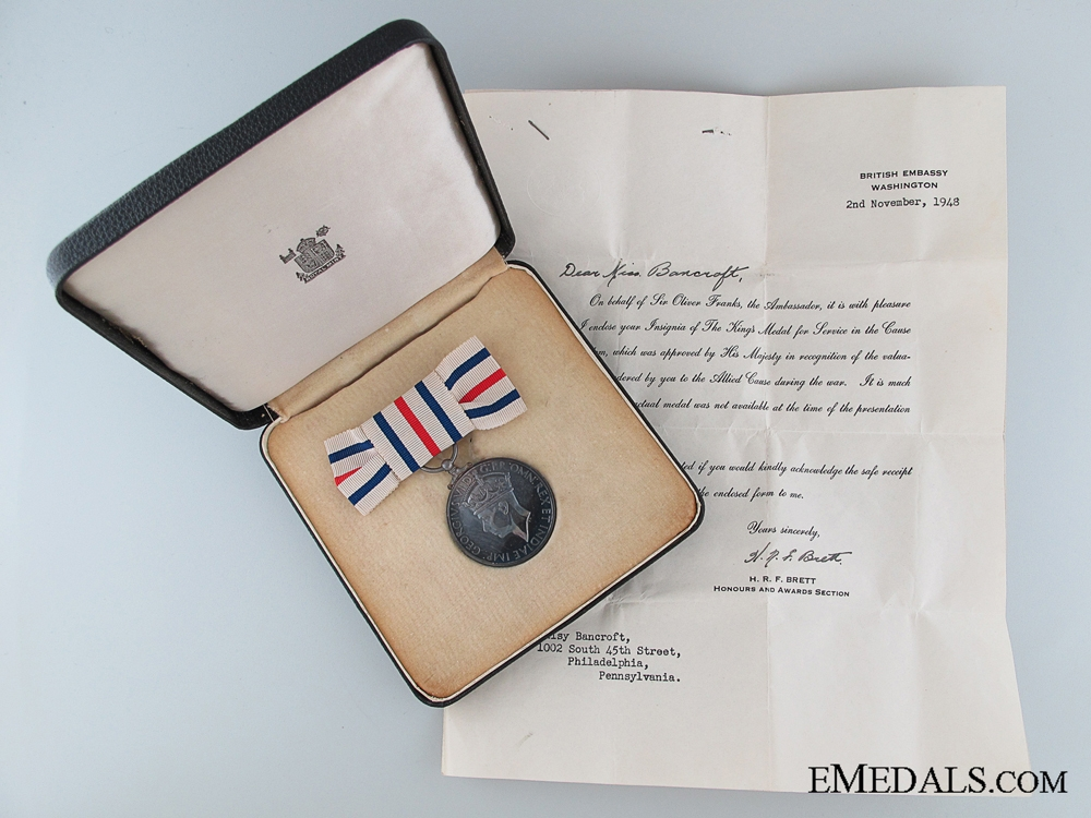 eMedals-A King's Medal For Service In The Cause of Freedom to Miss Daisy Bancroft, Philadelphia