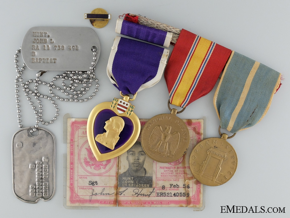 eMedals-A Korean War Purple Heart Group to Sergeant John L. Hunt
