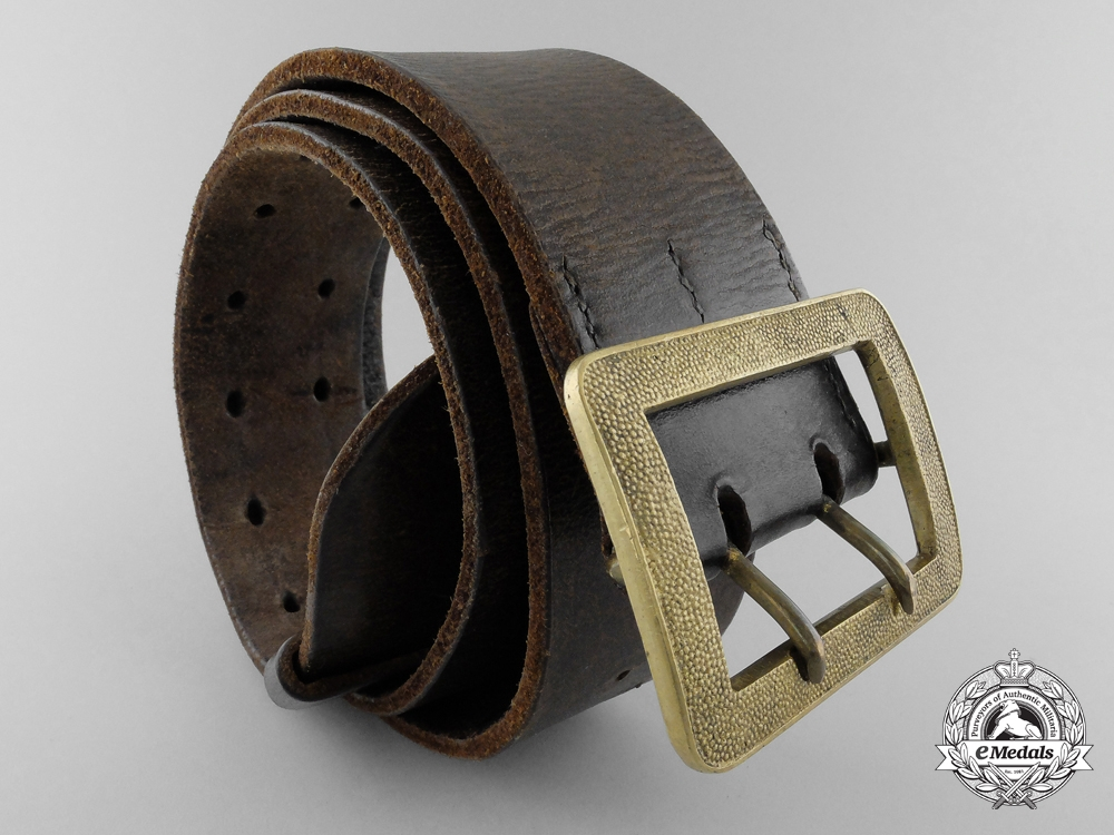 eMedals-A German Double Open Claw Buckle with Brown Leather Belt