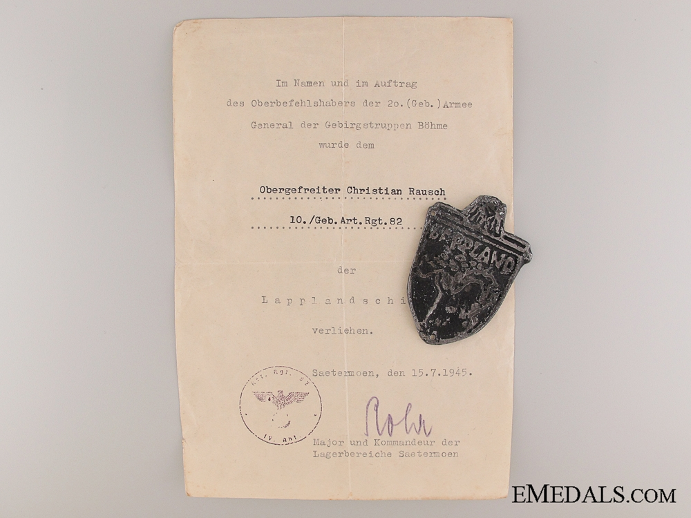eMedals-Lappland Shield with Document
