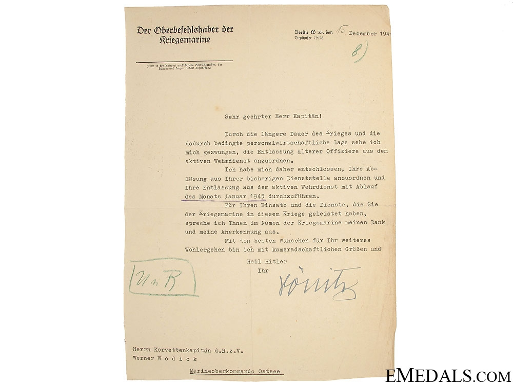 eMedals-Letter signed by Grand Admiral Karl Dönitz