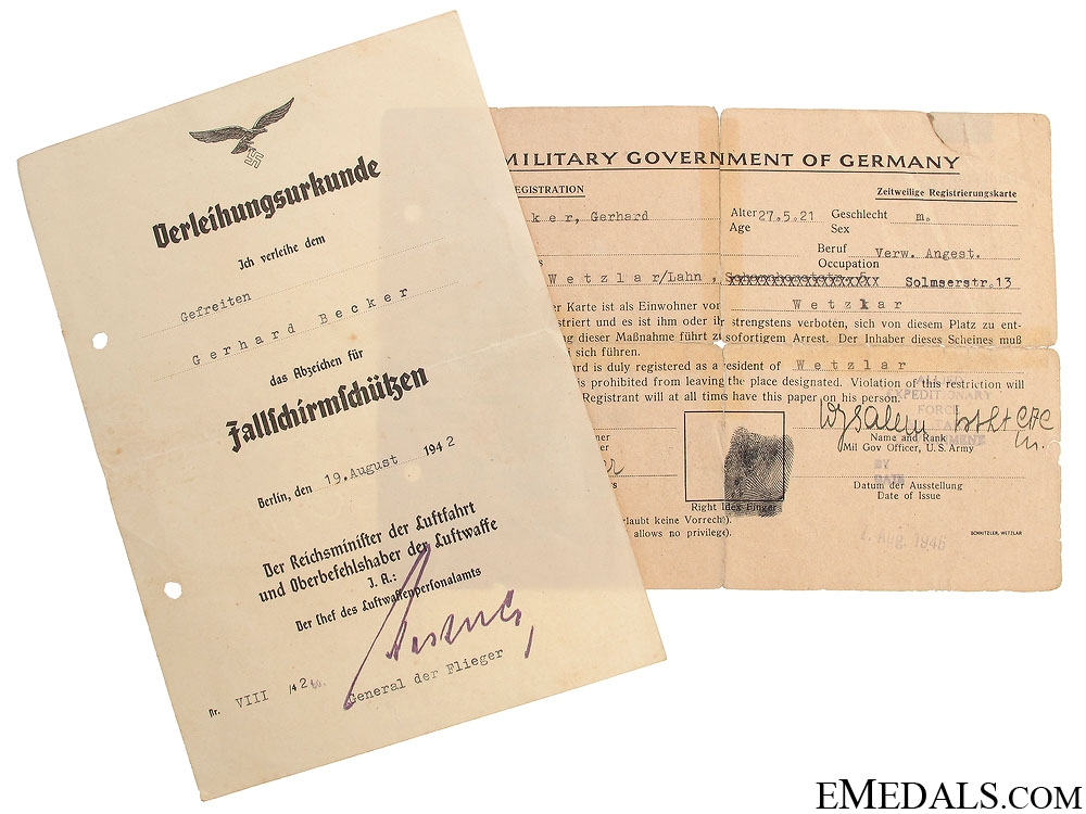 eMedals-Luftwaffe Paratrooper Badge Document & POW Card