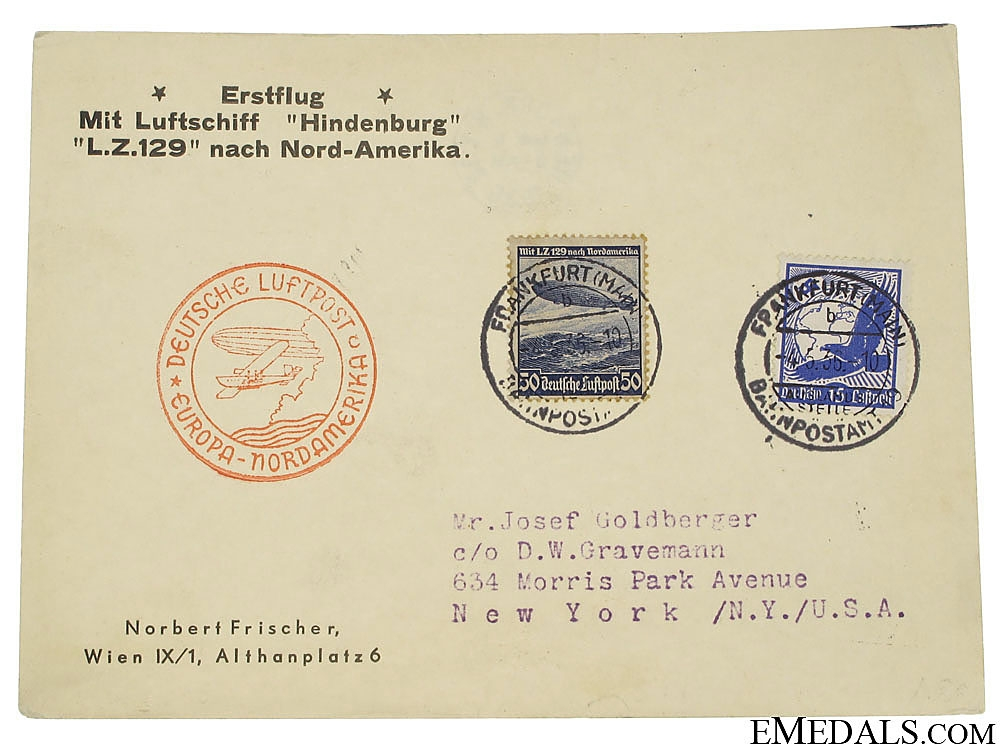 eMedals-LZ129 Hindenburg 1st Europe to North America Flight Postcard 1936