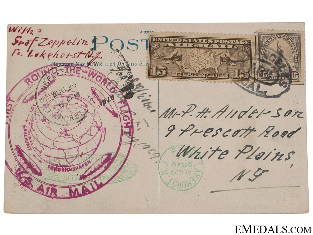 eMedals-LZ 127 Graf Zeppelin 1st Round The World Flight Postcard 1929