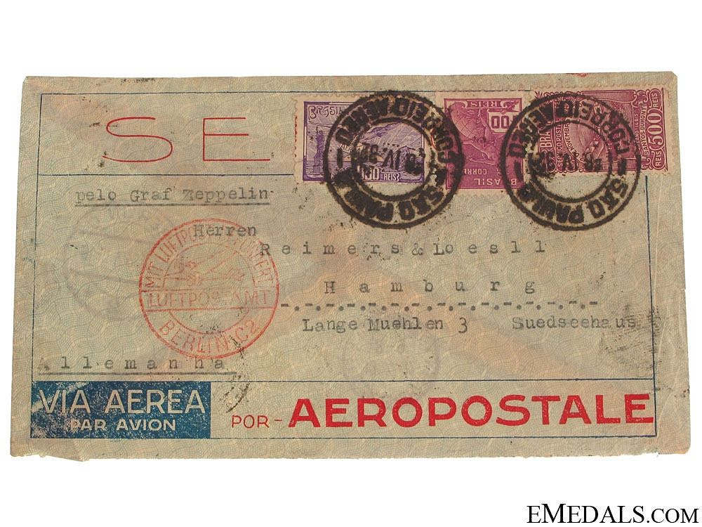 eMedals-LZ 127 Graf Zeppelin Air Mail Envelope 1932