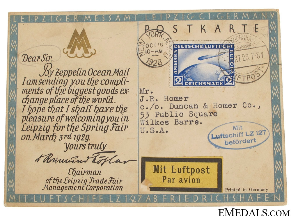 eMedals-LZ 127 Graf Zeppelin Postcard 1928