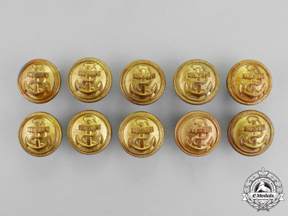 eMedals-Germany. A Grouping of Ten Post-War Manufacture Naval Buttons