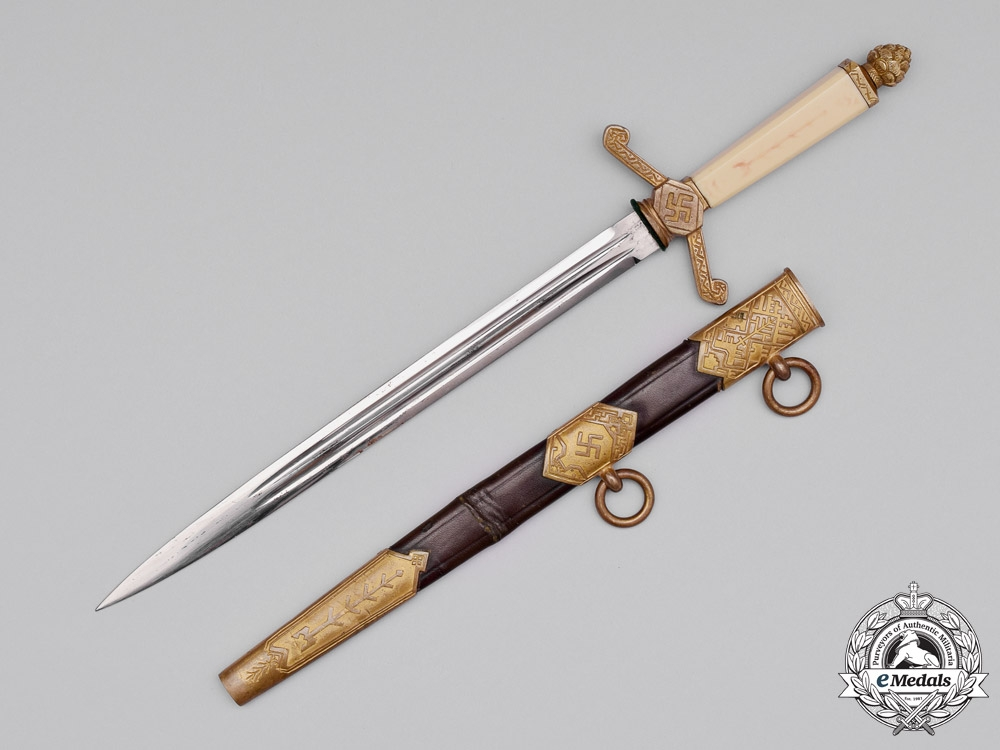 eMedals-Latvia. A National Socialist Government Official's Dagger by E. & F. Hörster, c.1940