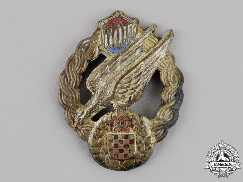 eMedals- Croatia. A Rare Paratrooper's Badge, c.1941