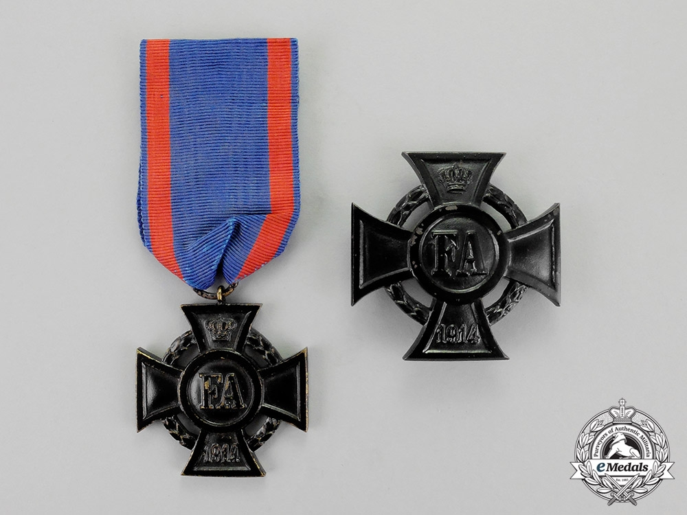 eMedals-Oldenburg. Two Friedrich August Crosses, First and Second Class