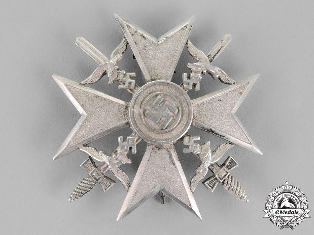 eMedals-Germany. A Spanish Cross, Silver Grade, With Swords, by Juncker