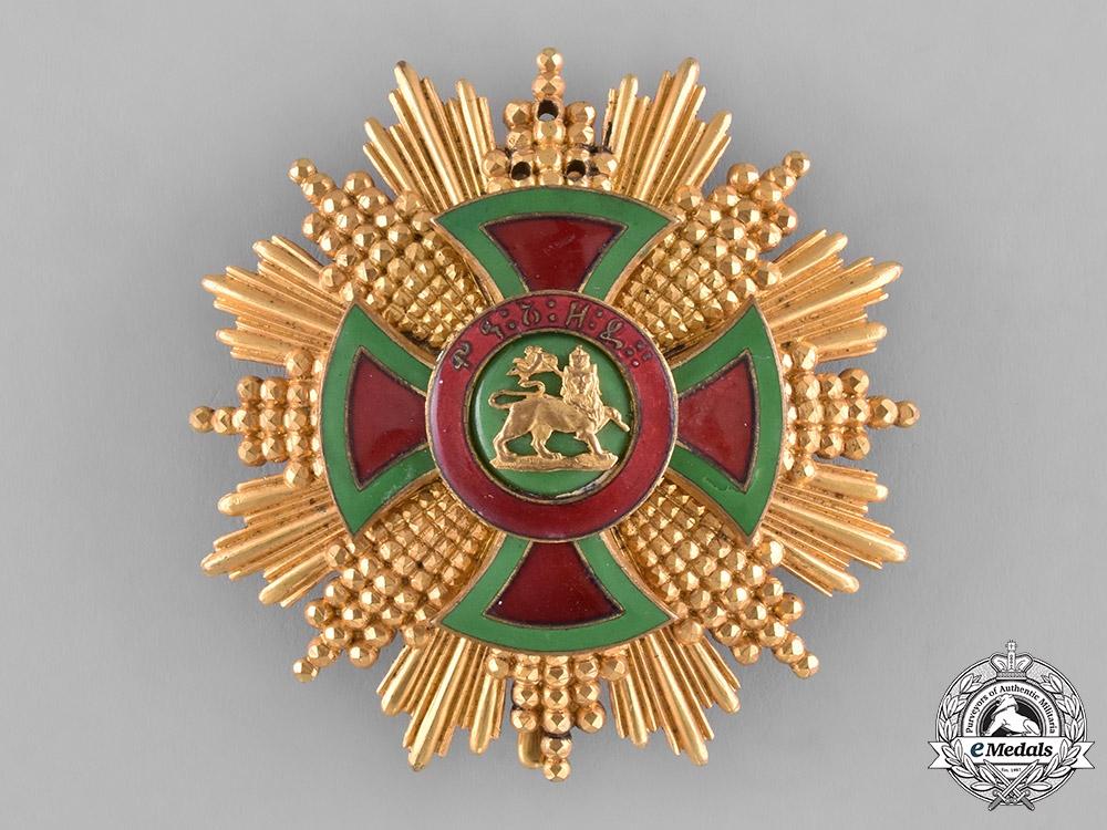 eMedals-Ethiopia, Empire. An Order of Emperor Menelik II, Grand Cross Star, c.1930